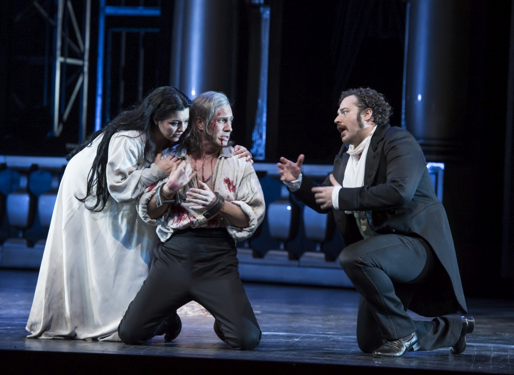 Lianna Haroutounian as Hélène, Erwin Schrott as Jean Procida and Bryan Hymel as Henri in The Royal Opera production of Les Vêpres Siciliennes (2013) to music by Giuseppe Verdi (1813-1901) directed by Stefan Herheim with set designs by Philipp Fürhofer and costume designs by Gesine Voellm, first performed at the Royal Opera House in October 2013. ARPDATA ;  LES VEPRES SICILIENNES ;  Music by Verdi ;  Lianna Haroutounian (as Helene) ,  Erwin Schrott (as Jean Procida) and Bryan Hymel (as Henri) ;  The Royal Opera, London, UK ;  14 October 2013  ;  Credit: Bill Cooper / Royal Opera House / ArenaPAL