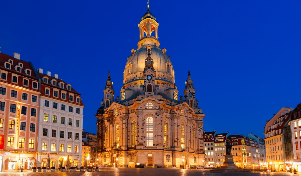 Lutheran church of Our Lady aka Frauenkirche with market place at night in Dresden, Saxony, Germany